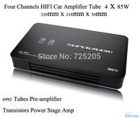 HIFI Car Amplifier 4 Channels Audio 6992 Tube Preamplifier Transistors Power Stage Class AB RMS Power 85 W x 4 Black DIY