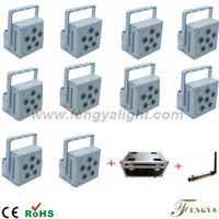 10pcs light 1 transmitter 1 flight case 6X15W  DMX Wireless Battery Powered LED Par  can stage lights