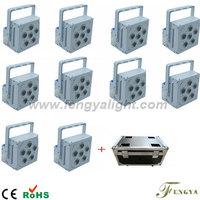 10pcs with flight case 6X15W  RGBAW 5 IN 1 DMX Wireless Battery Powered LED Par can