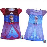 2014 New Frozen Elsa dress Summer Anna dresses Frozen Princess girl clothes cartoon night gown 5 sizes TQ0004