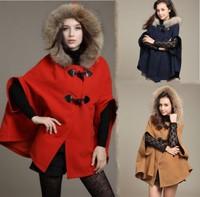 Fur Collar Autumn Cloak Hooded Cape Woollen Coat 2014 New Fashion European desigual Women Poncho Jacket Trench Long Overcoat
