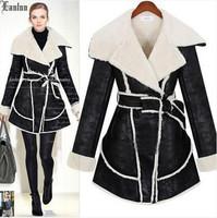 Lanluu New Popular Design 2014 Winter Coat  PU Leather Thick Wool Liner Women Long Overcoat SQ876