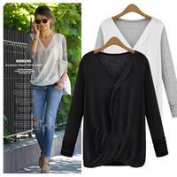 2014 New Autumn Women Blouse Fashion Chiffon Long Sleeve Ladies Shirt Camisas Blusas Femininas Black XL JR118 Free Shipping