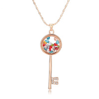 [Arinna Jewelry] Fashion Austria crystal 18k gold plated  key necklace,Nickle free antiallergic N1695