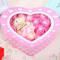 A romantic gift Plush Bear heart-shaped rose soap flower  (20 roses) JJ003