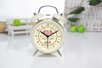 4 INCH European retro cute fashion metal mute sound great dual alarm table clock flower