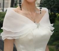 LA01 Fashionable White Off the Shoulder Sexy Bridal Wraps Bolero Women Jacket Wedding Accessories 2014