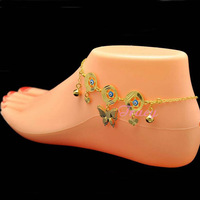 2014 Womens Ladies Maxi Long Anklets 22k Yellow Gold Filled Link Resin Heart Ball Butterfly Foot Bracelets Chain