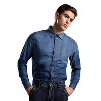 2014 Fashion Denim Autumn Casual Blue Cow Boy  Long  Cotton Sleeve Shirt For Men
