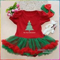 Infant Christmas Dress Headbands Set,X'mas Tree Grils Clothes,Newborn Christmas Dresses,Baby Girl Set,#3T0081-1 3 set/lot