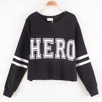 2014 Autumn short paragraph Korean Shopping paragraph sweater fashion print loose long-sleeved round neck sweater sets