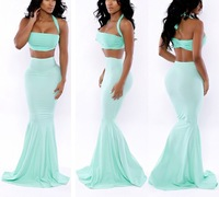 2014 New Women summer sexy strapless backless two pieces trumpet evening dress party dress vestidos 1121