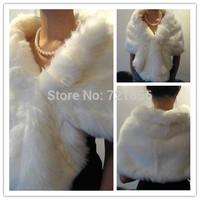 LA03 2014 Hot Sales Ivory/White Fashion Bridal Wraps Faux Fur Bolero Women Jacket Wedding Accessories