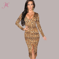2014 Autumn Dress  Long-sleeve Mid-Calf Leopard Dress With Front Slit Sexy Vestidos LC6679