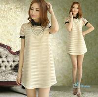 Graceful Temperment European Spring Stripe Fashion Vestidos Sweet Clothing Summer Thin Chiffon 2014 Autumn Women Dress