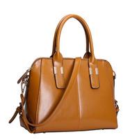 Fashion women genuine leather shoulder handbag Oil wax skin larger messenger bag retro luxury totes Vintage motorcycle bag 0904B