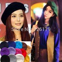12 Solid Color Warm Lady Womens Wool Beret French Artist Beanie Hat Headgear Winter Ski Cap