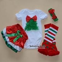 Baby Christmas Rompers Skirt Dots Legwarmers Bow Headbands Set,Roupas Para Bebe,Roupas Infantil Meninas, #3T0083 3 set/lot