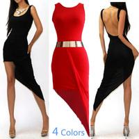 4-colors New 2014 women summer sexy sheathy O-neck sleeveless backless asymmetrical dress casual dress clubwear beachwear 4236