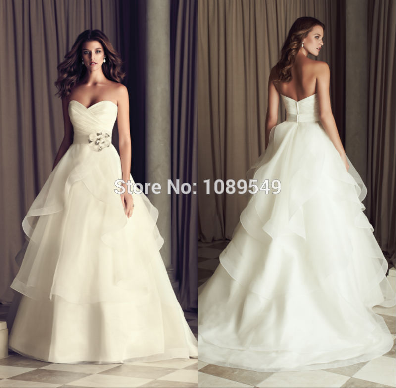 Graceful Vestido De Casamento Sweetheart Neckline Strapless Pleated Bodice Lace Up Back Bridal Gown Wedding Dress With Belt(China (Mainland))