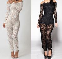 2-colors New 2014 women fashion casual slash neck off the shoulder full sleeves lace jumpsuit bohemian jumpsuit SJ1012