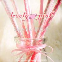 Free Shipping 125pcs Assorted pink straw The Ballerina Paper Straws dot chevron stripes polka dot Drinking Paper Straw Wholesale