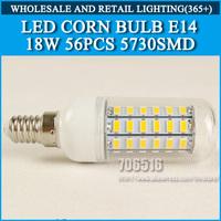 5PCS/lot High brightness led bulb lamp Lights Corn Bulb E14 18W 5730SMD 360 degrees Cold white/warm white AC220V 230V 240V