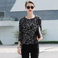Women Cotton Pullovers Color Block T shirt Knit Roupas blusas femininas Casual High Street Blouse Rock roupas Tees blusa Tops