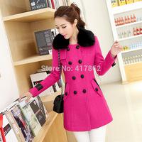 Free shipping U&Me New winter fashion Korean Slim Girls long paragraph woolen coat jacket collar Nagymaros wholesale spot