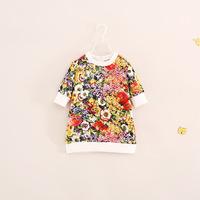 high quality brand design children girl half sleeve flower dress princess dresses