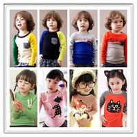 Min. Qty any 2pcs in my shop Size 100~140 Kids Tops tees boys girls cartoon Long Sleeves T shirt  Children T-Shirts 8861