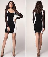 Autumn New Fashion Women Dress 2014 Winter Long Sleeve Ladies Casual Dresses Black XXL XXXL 410 Free Shipping