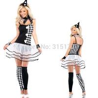 Free shipping 6Pcs Black White Harlequin Clown Costume 2014 Women Wholesale 10pc/lot Halloween Fancy dress costume 8802