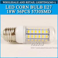 5PCS/lot High brightness led bulb lamp Lights Corn Bulb E27 18W 5730SMD 360 degrees Cold white/warm white AC220V 230V 240V