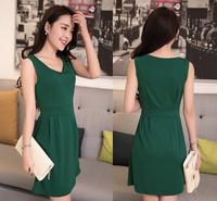 wholesale elegant 2014 fashion women summer dress casual Solid sexy dress sleeveless Plus Size multi-colors Freeshipping