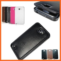 NOTE2 Luxury Aluminum metal Frame + Genuine leather Back Cover phone housing Case For Samsung Galaxy note 2 N7100 bags cases