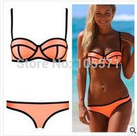 High Quality explosion models neoprene swimsuit bikini triangl gather bra wholesale sports