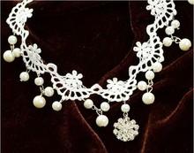 Fashion Bride Jewelry Rhinestone White Lace Necklace Z5T13