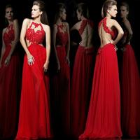 Backless Lace plus size long formal evening dress vestido de festa 2014 Halter sexy Red Chiffon long formal evening dress 2014