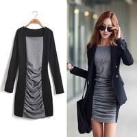 New 2014 Autumn Fashion Women Dress Winter Long Sleeve O-Neck Ladies Casual Dresses Black XL 322 Free Shipping