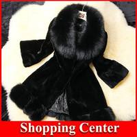 Freeshipping 2014 NEW Women's new Fur collar leather fur splicing lengthened models warm winter coat women fur dropshipping