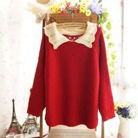 2014 new Winter sweet doll collar pullover  women loose bat raglan sleeve knit sweater