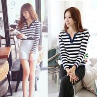 2015 New Autumn Navy Style T Shirt Striped Slim Women V Neck Basic Shirt Long Sleeve T-shirt Fashion Women clothing blusas Tops