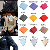 A5 Free Shipping Fashion Chic Mens Silk Satin Pocket Square Hankerchief Hanky Plain Solid Color  H5045 P