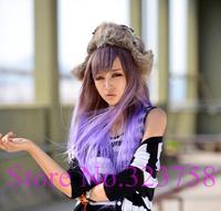2014 Free shipping 78cm long women purple gradient wig japanese harajuku anime cosplay wigs, Too7