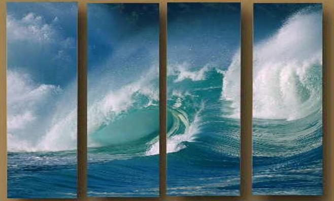 4052 pintado à mão 4 peça pintura a óleo da paisagem na parede lona de arte ondas do mar mar imagem para sala de estar como presente(China (Mainland))