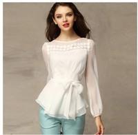 In the fall of 2014 new bottoming shirt dress shirt all-match lady temperament slim slim long sleeved chiffon shirt
