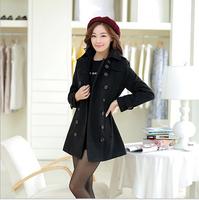 2014 Women Warm Thick Coat Fashion Winter Autumn Wool  Blends Coat Jacket Double-breasted Woolen Outwear Free Shipping W5281