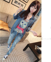 New 2014 medium-long slim shirt Dark Blue turn-down collar decrative rivets shoulder wash long-sleeve denim shirt for women 0656