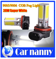 Car styling Free Shipping 2 Pcs Car 20 watt 9005/9006 LED Pure White Parking Head Fog Light Lamp Bulb 12V New COB Fog Light